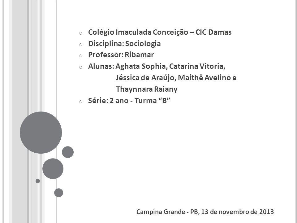 Colégio Imaculada Conceição – CIC Damas Disciplina: Sociologia