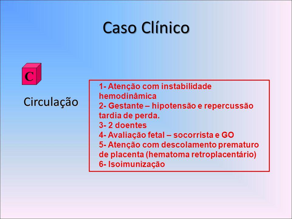 Caso Clínico C Circulação 1- Atenção com instabilidade hemodinâmica