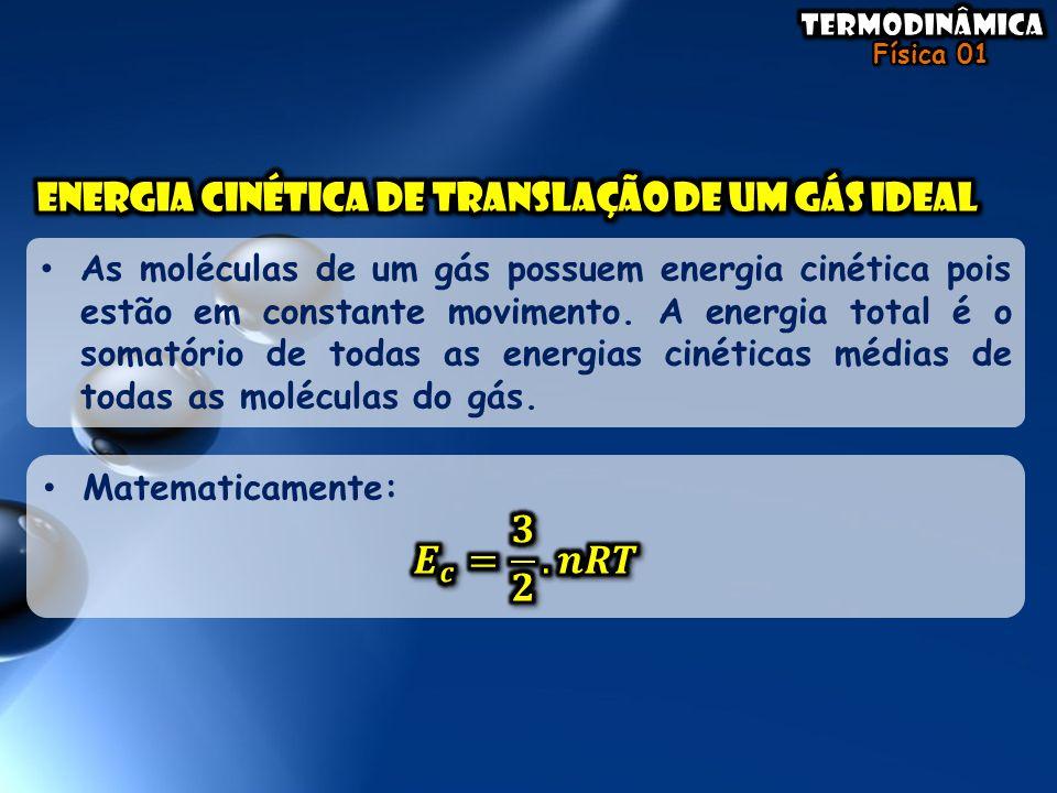 𝑬 𝒄 = 𝟑 𝟐 .𝒏𝑹𝑻 Energia cinética de translação de um gás ideal