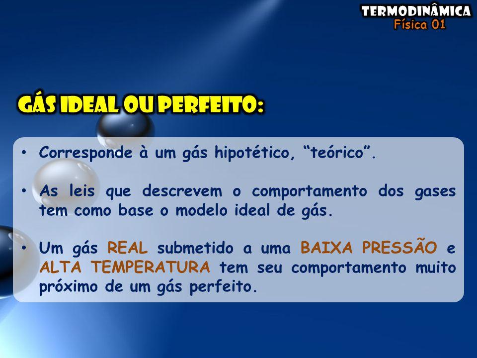 GÁS ideal ou perfeito: Corresponde à um gás hipotético, teórico .