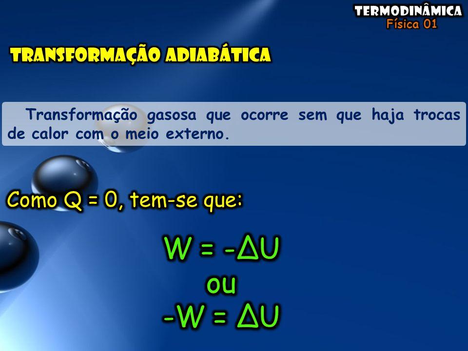 W = -ΔU ou -W = ΔU Como Q = 0, tem-se que: TRANSFORMAÇÃO ADIABÁTICA