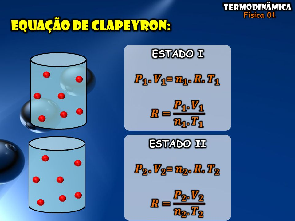 Equação de clapeyron: 𝑷 𝟏 . 𝑽 𝟏 = 𝒏 𝟏 . 𝑹. 𝑻 𝟏 𝑹= 𝑷 𝟏 . 𝑽 𝟏 𝒏 𝟏 . 𝑻 𝟏