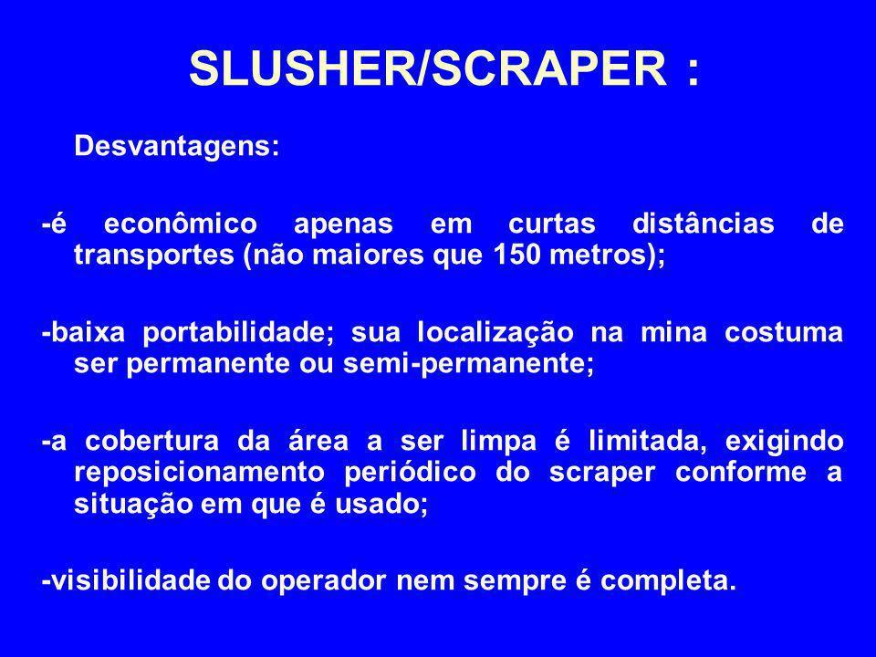 SLUSHER/SCRAPER : Desvantagens: