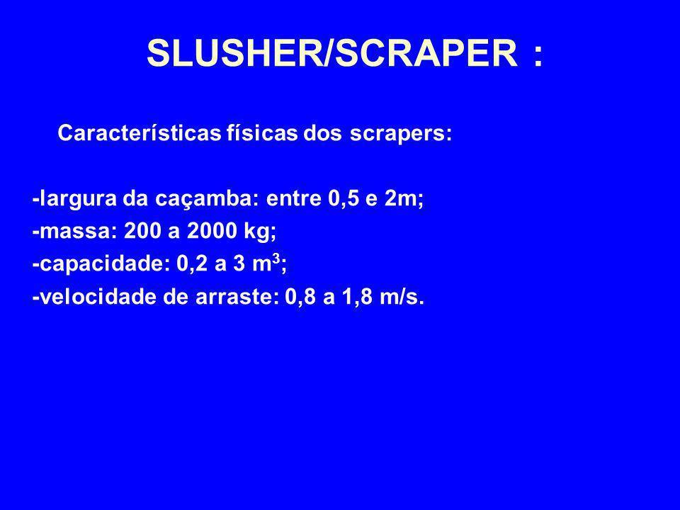 SLUSHER/SCRAPER : Características físicas dos scrapers: