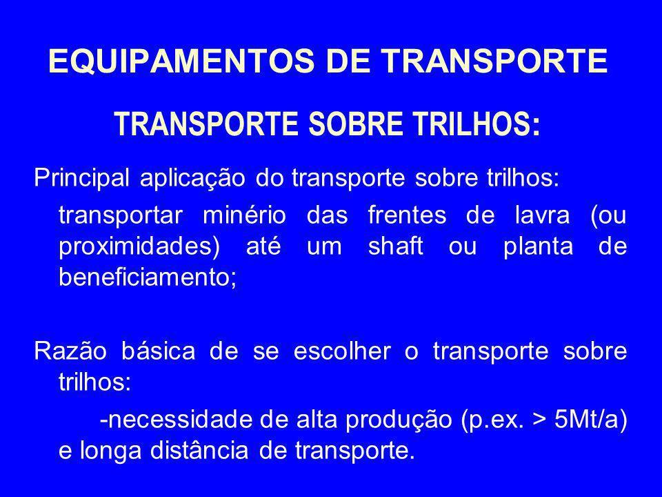 EQUIPAMENTOS DE TRANSPORTE TRANSPORTE SOBRE TRILHOS: