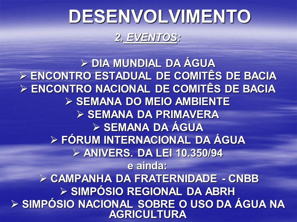 DESENVOLVIMENTO 2. EVENTOS:  DIA MUNDIAL DA ÁGUA
