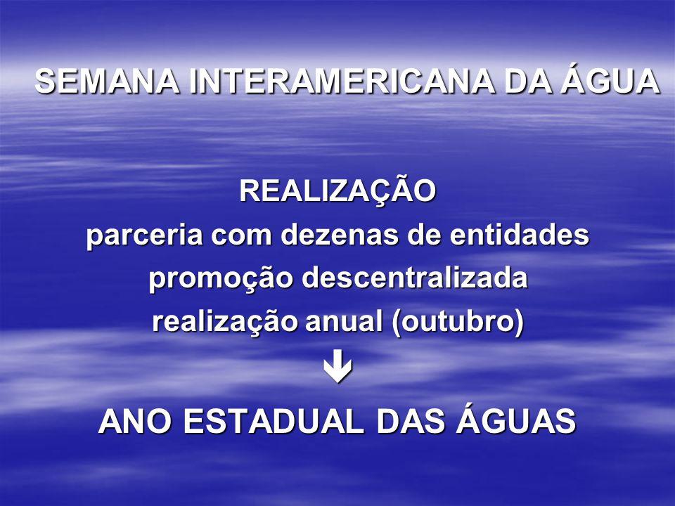  SEMANA INTERAMERICANA DA ÁGUA ANO ESTADUAL DAS ÁGUAS REALIZAÇÃO