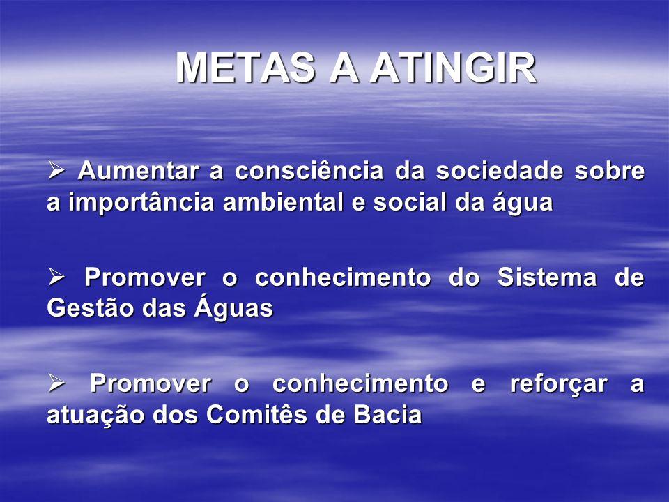 METAS A ATINGIR  Aumentar a consciência da sociedade sobre a importância ambiental e social da água.