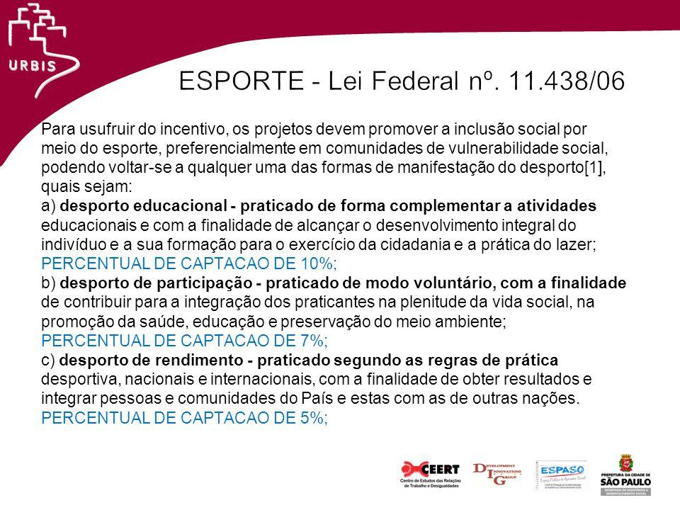 ESPORTE - Lei Federal nº. 11.438/06