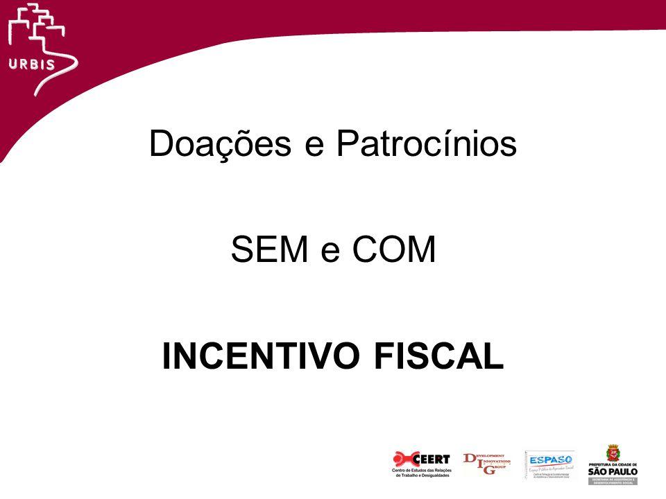 Doações e Patrocínios SEM e COM INCENTIVO FISCAL