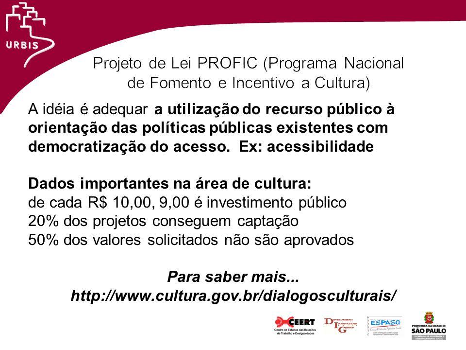 Projeto de Lei PROFIC (Programa Nacional de Fomento e Incentivo a Cultura)