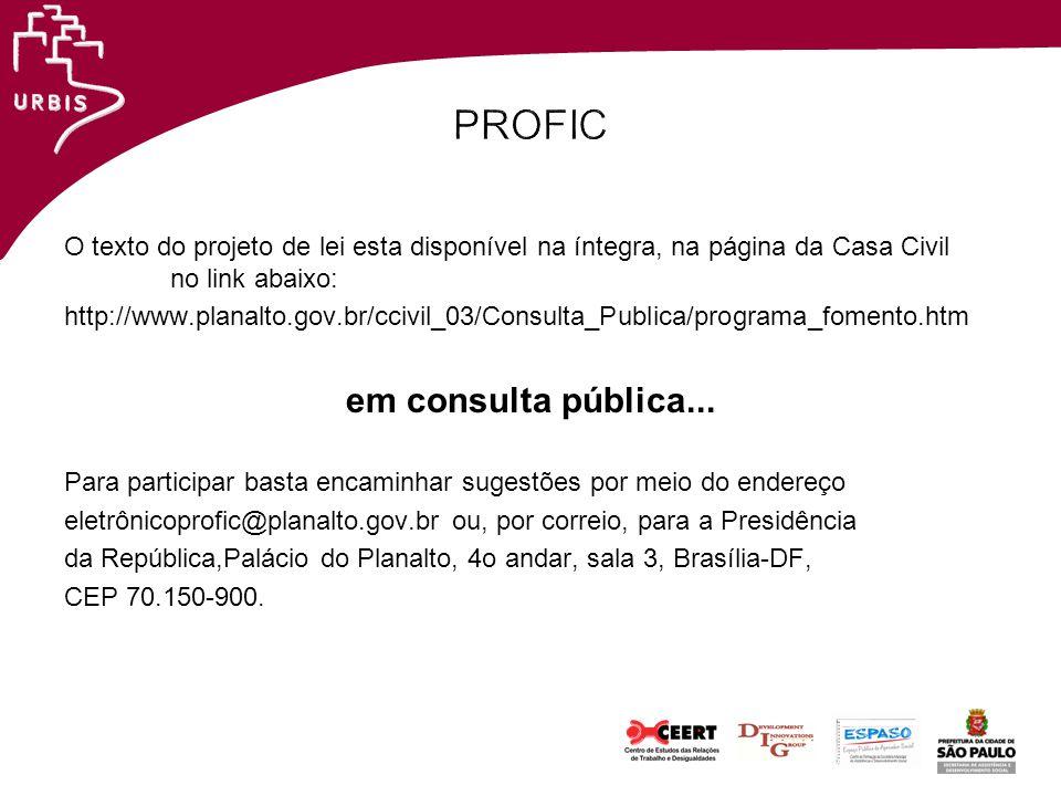 PROFIC em consulta pública...