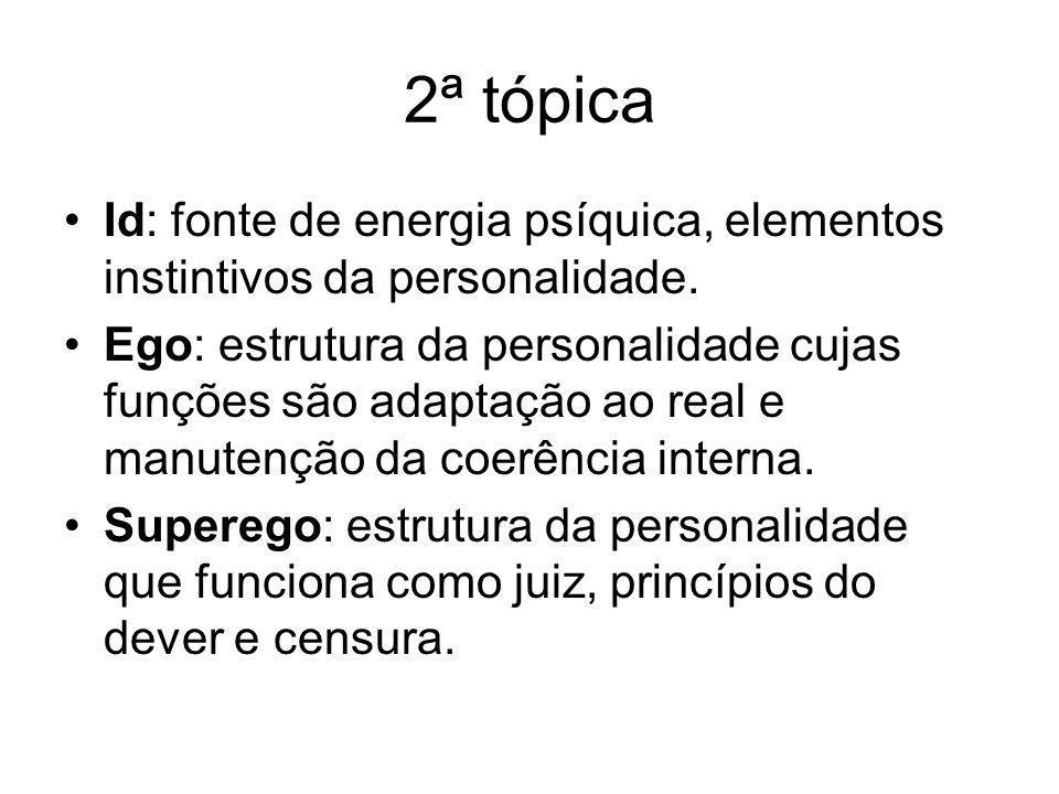 2ª tópica Id: fonte de energia psíquica, elementos instintivos da personalidade.