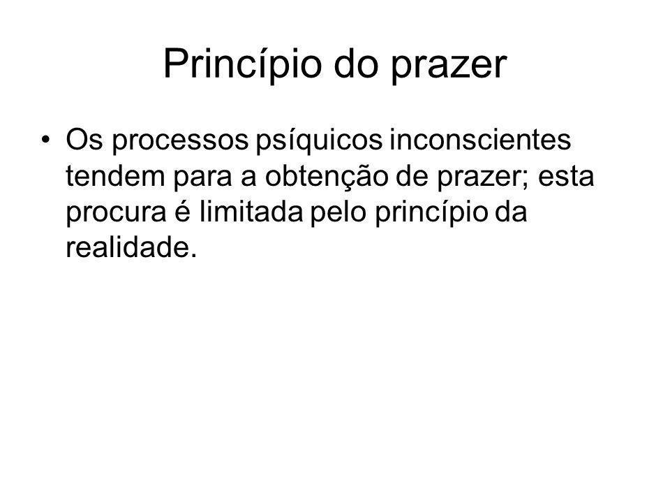 Princípio do prazer Os processos psíquicos inconscientes tendem para a obtenção de prazer; esta procura é limitada pelo princípio da realidade.