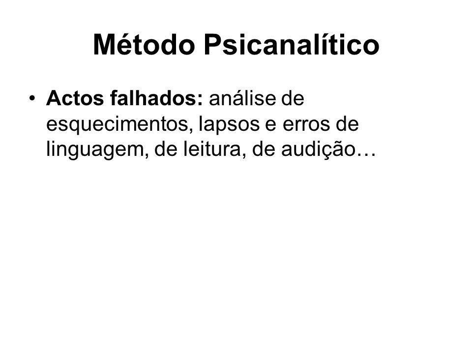Método Psicanalítico Actos falhados: análise de esquecimentos, lapsos e erros de linguagem, de leitura, de audição…