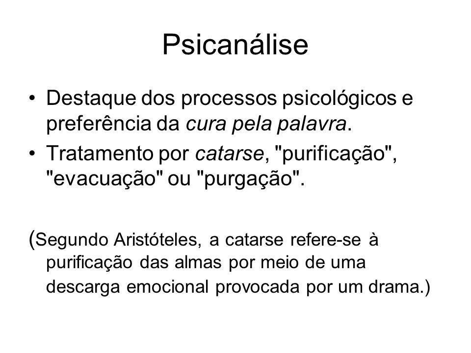 Psicanálise Destaque dos processos psicológicos e preferência da cura pela palavra.
