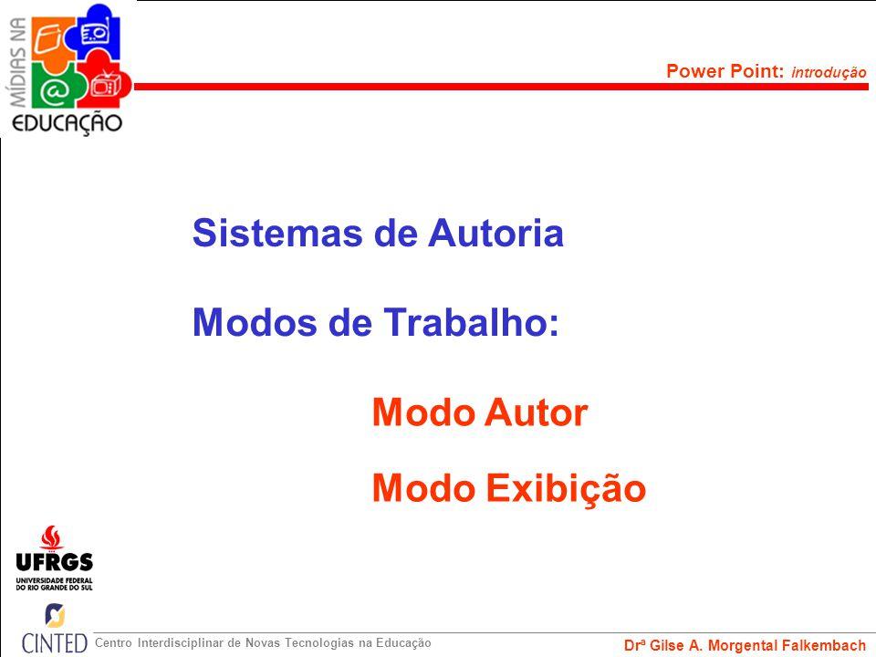 Sistemas de Autoria Modos de Trabalho: Modo Autor Modo Exibição