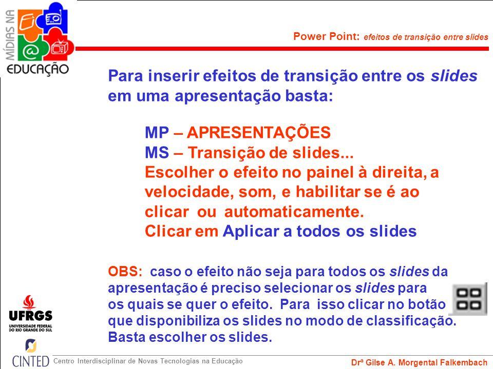 MS – Transição de slides... Escolher o efeito no painel à direita, a