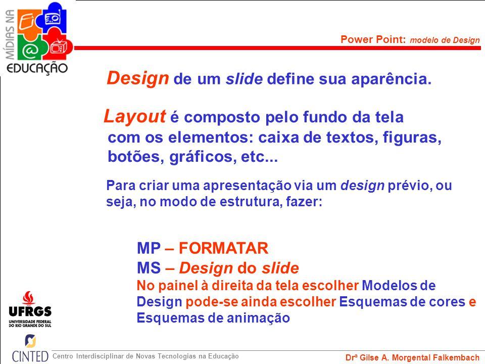 Design de um slide define sua aparência.