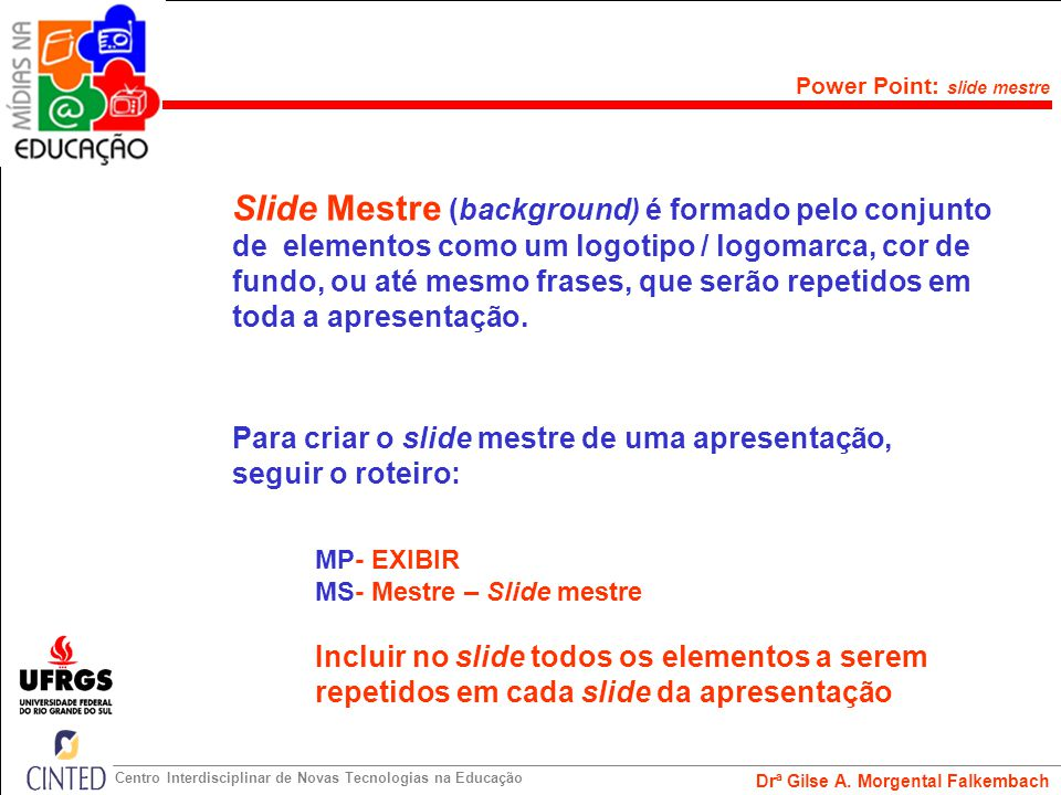 Power Point: slide mestre