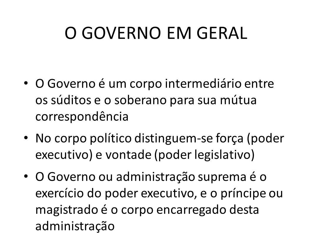 O GOVERNO EM GERAL O Governo é um corpo intermediário entre os súditos e o soberano para sua mútua correspondência.