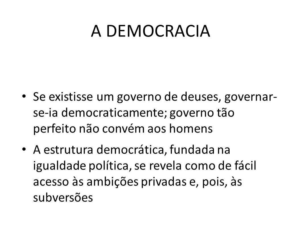 A DEMOCRACIA Se existisse um governo de deuses, governar- se-ia democraticamente; governo tão perfeito não convém aos homens.
