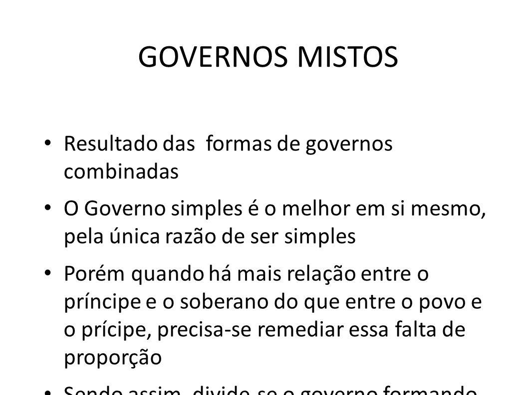 GOVERNOS MISTOS Resultado das formas de governos combinadas