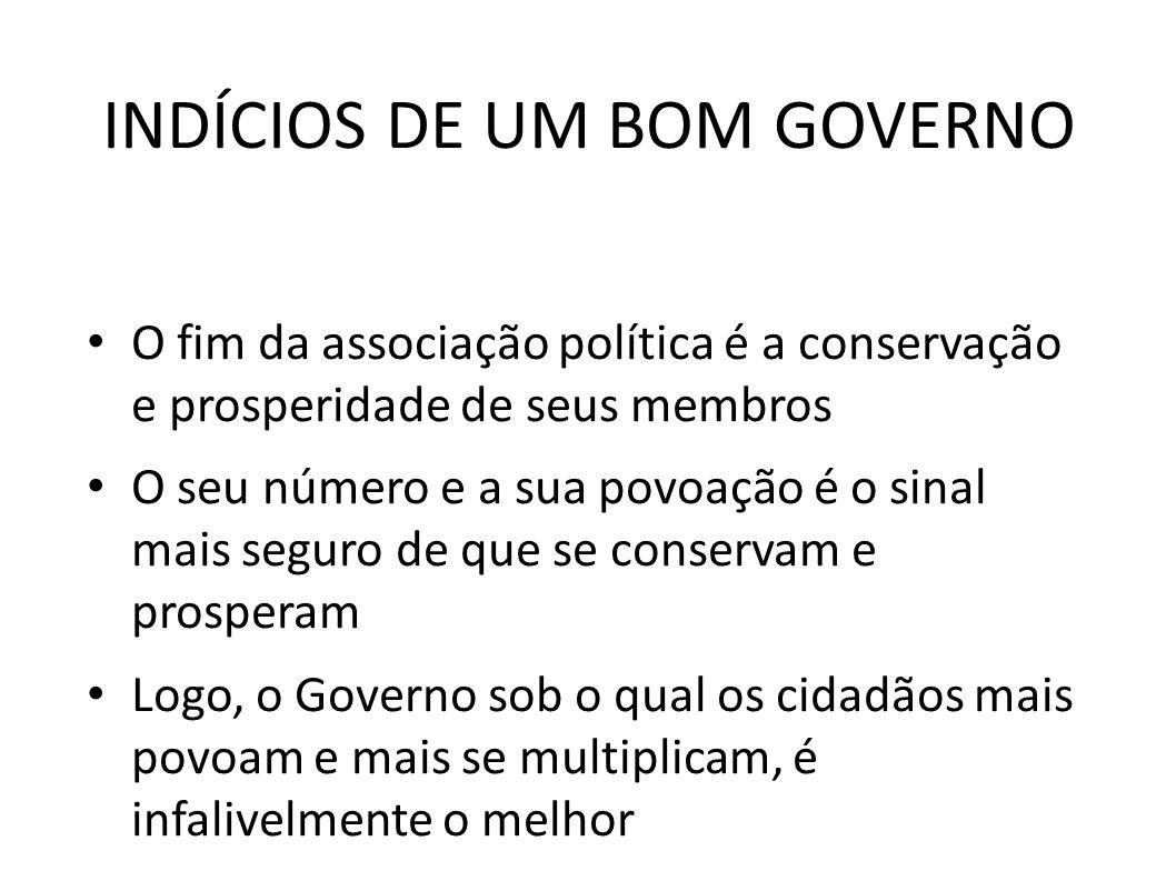 INDÍCIOS DE UM BOM GOVERNO