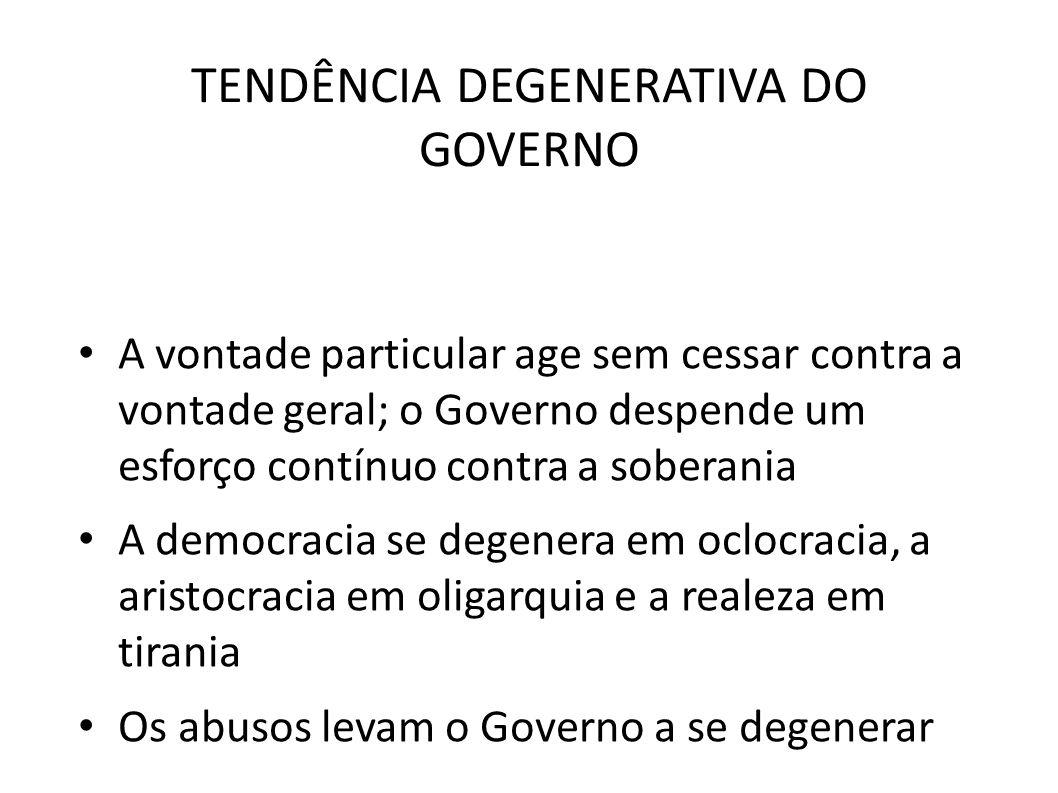 TENDÊNCIA DEGENERATIVA DO GOVERNO