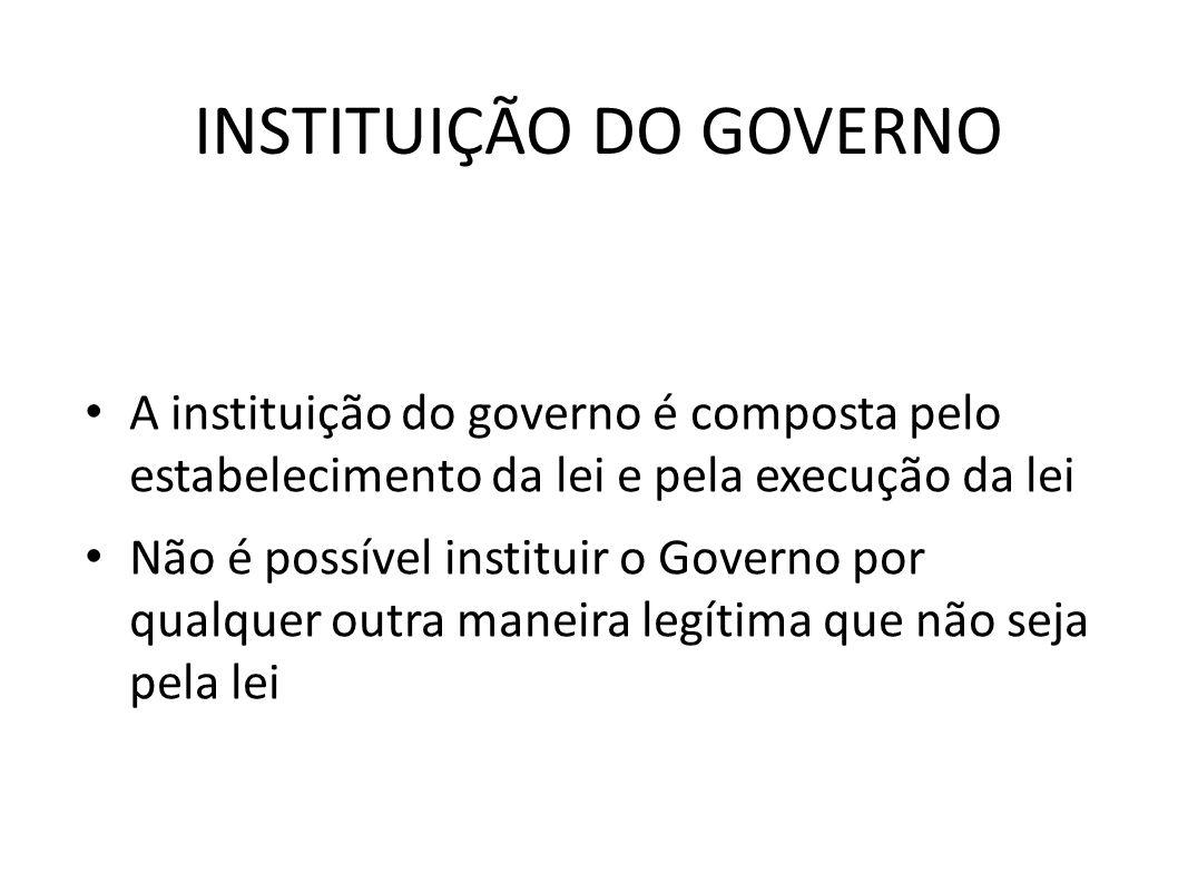INSTITUIÇÃO DO GOVERNO