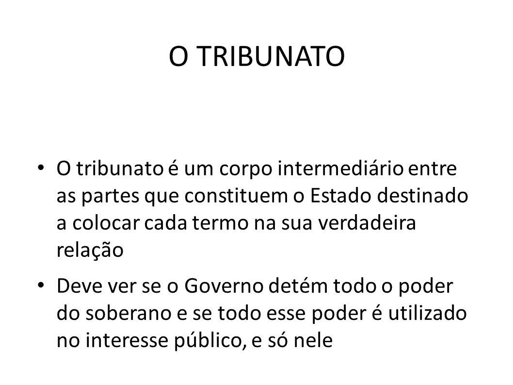O TRIBUNATO O tribunato é um corpo intermediário entre as partes que constituem o Estado destinado a colocar cada termo na sua verdadeira relação.