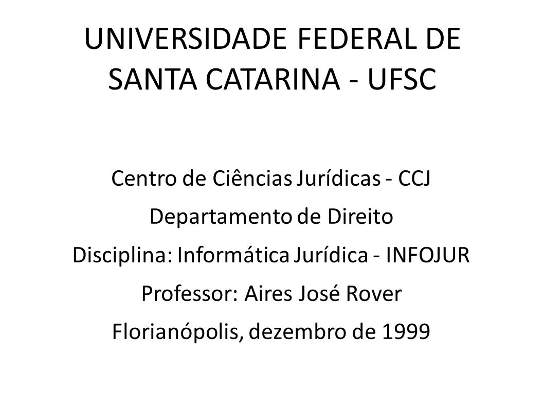 UNIVERSIDADE FEDERAL DE SANTA CATARINA - UFSC