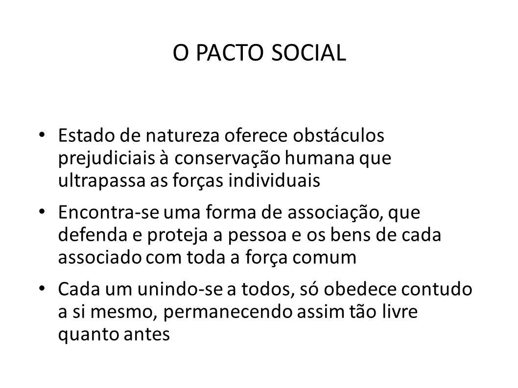 O PACTO SOCIAL Estado de natureza oferece obstáculos prejudiciais à conservação humana que ultrapassa as forças individuais.