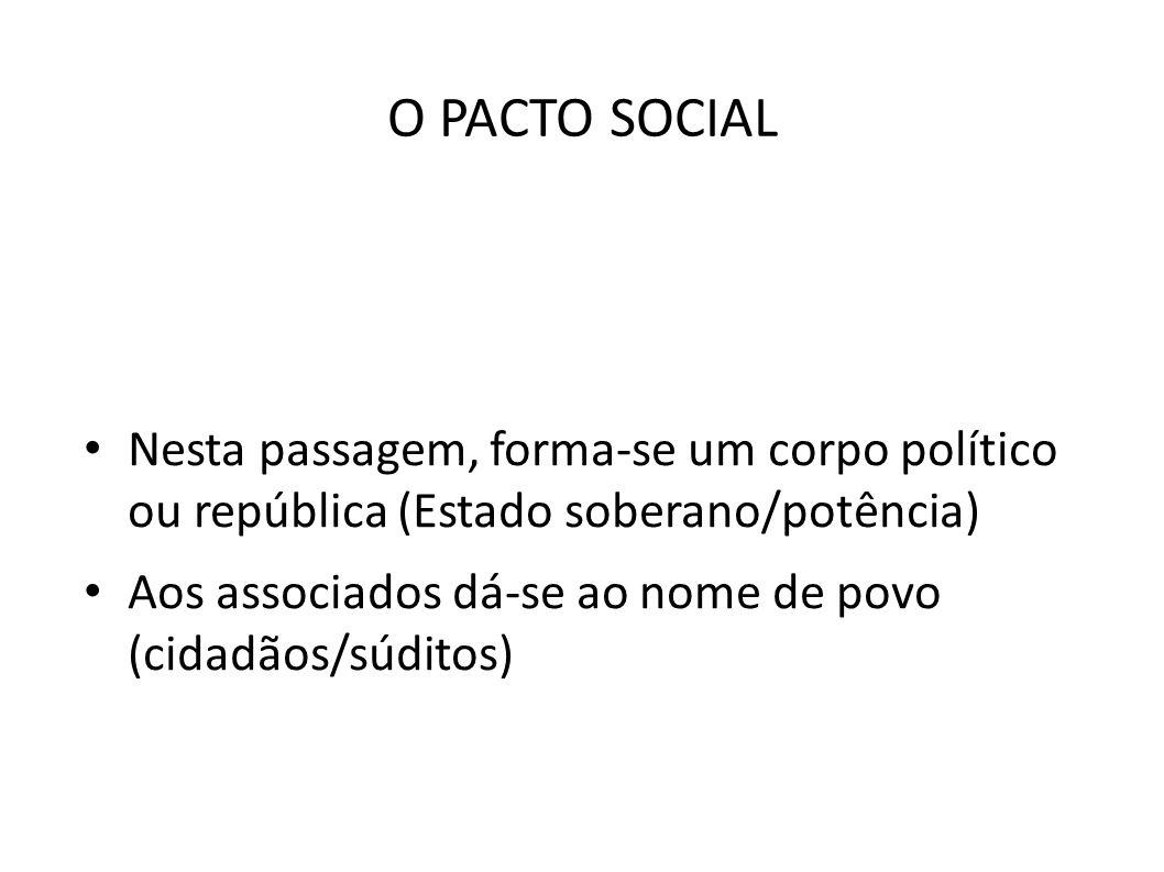 O PACTO SOCIAL Nesta passagem, forma-se um corpo político ou república (Estado soberano/potência)