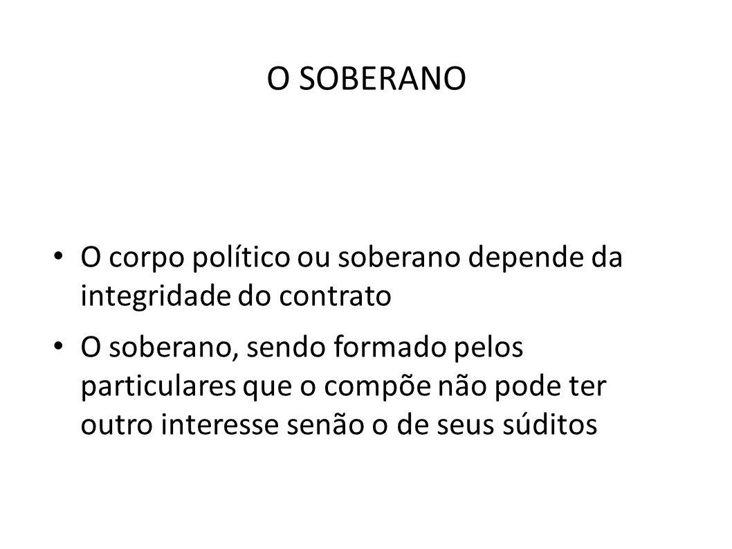 O SOBERANO O corpo político ou soberano depende da integridade do contrato.