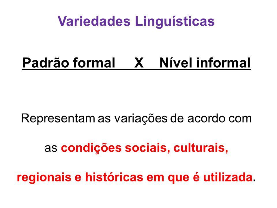 Variedades Linguísticas Padrão formal X Nível informal