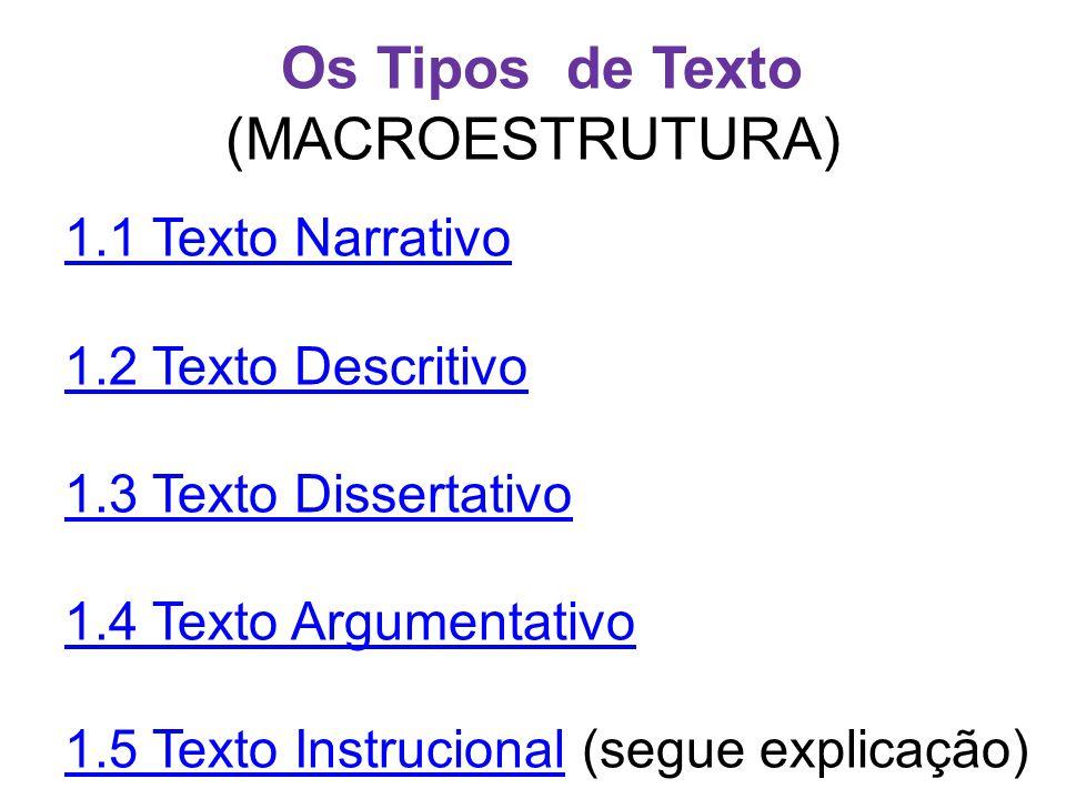 Os Tipos de Texto (MACROESTRUTURA)