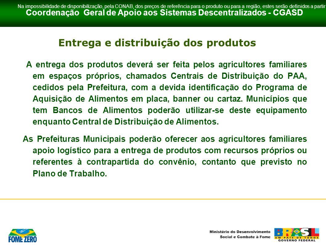 Entrega e distribuição dos produtos