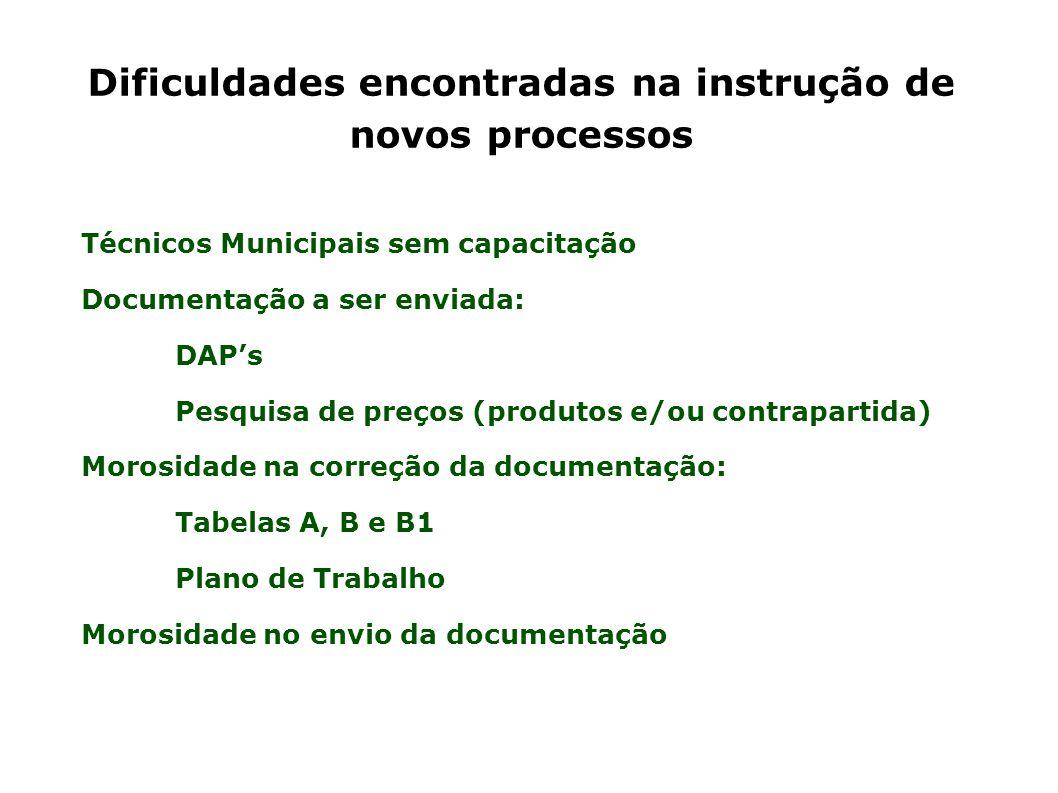 Dificuldades encontradas na instrução de novos processos