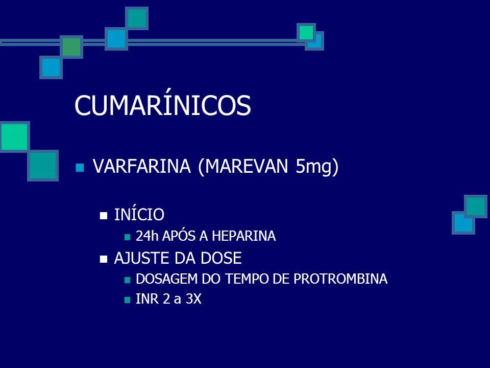 CUMARÍNICOS VARFARINA (MAREVAN 5mg) INÍCIO AJUSTE DA DOSE