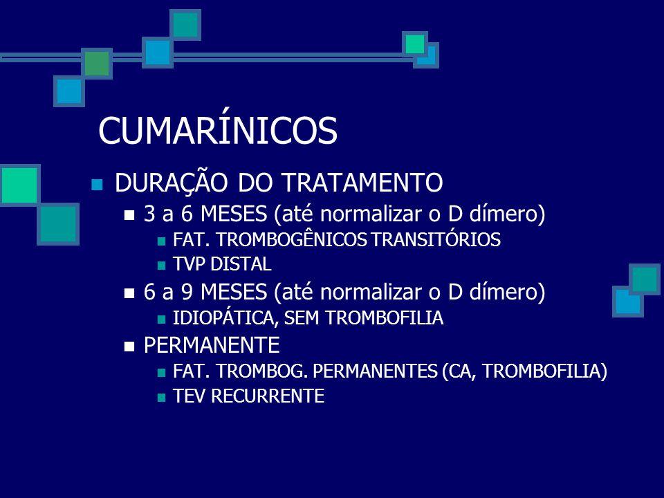 CUMARÍNICOS DURAÇÃO DO TRATAMENTO
