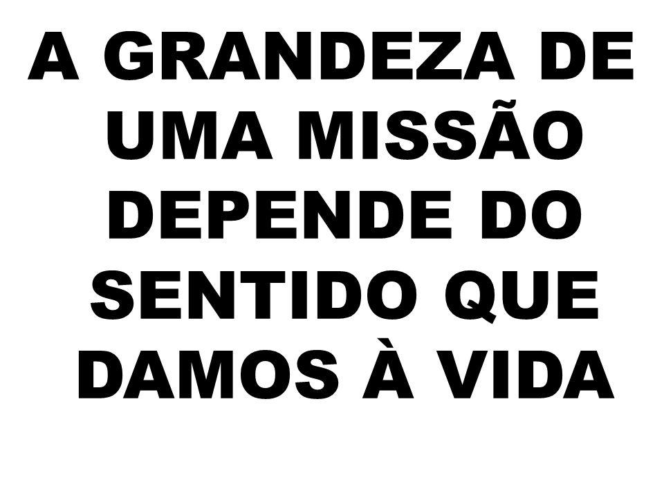 A GRANDEZA DE UMA MISSÃO DEPENDE DO SENTIDO QUE DAMOS À VIDA