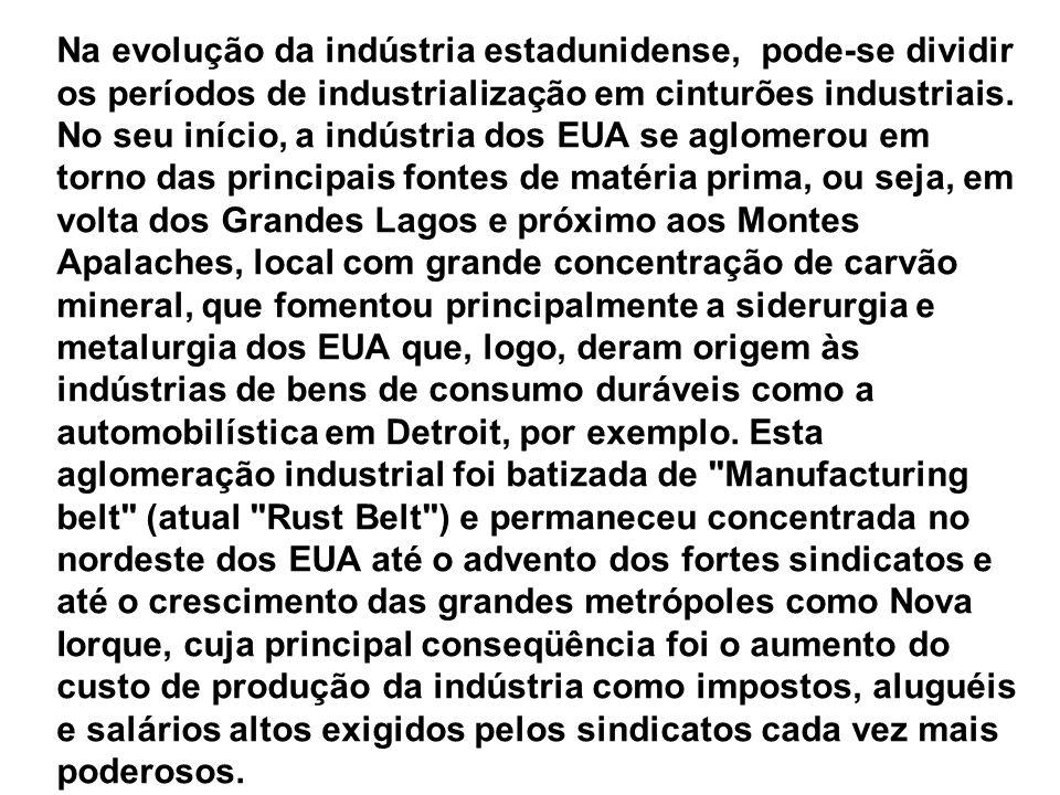 Na evolução da indústria estadunidense, pode-se dividir os períodos de industrialização em cinturões industriais.