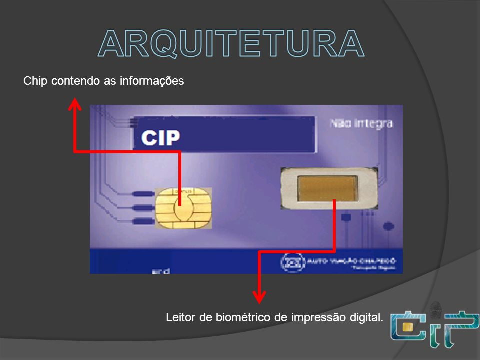 ARQUITETURA Chip contendo as informações