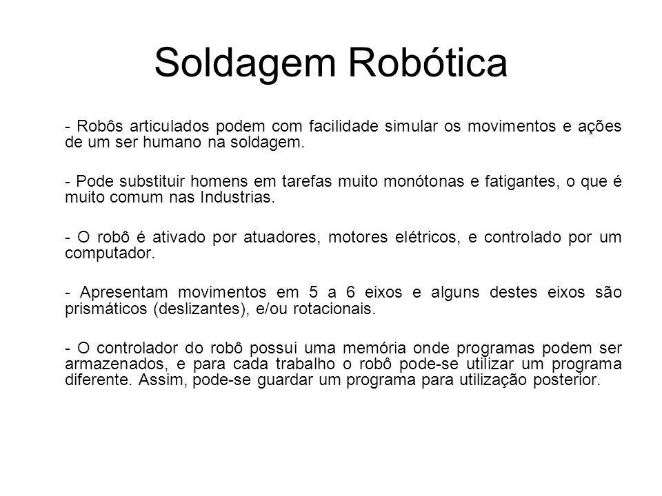 Soldagem Robótica - Robôs articulados podem com facilidade simular os movimentos e ações de um ser humano na soldagem.