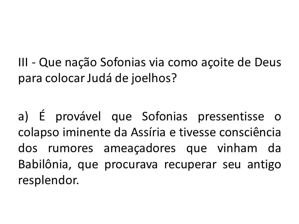 III - Que nação Sofonias via como açoite de Deus para colocar Judá de joelhos.