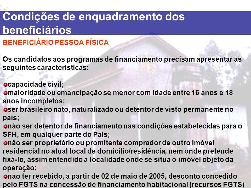 Condições de enquadramento dos beneficiários