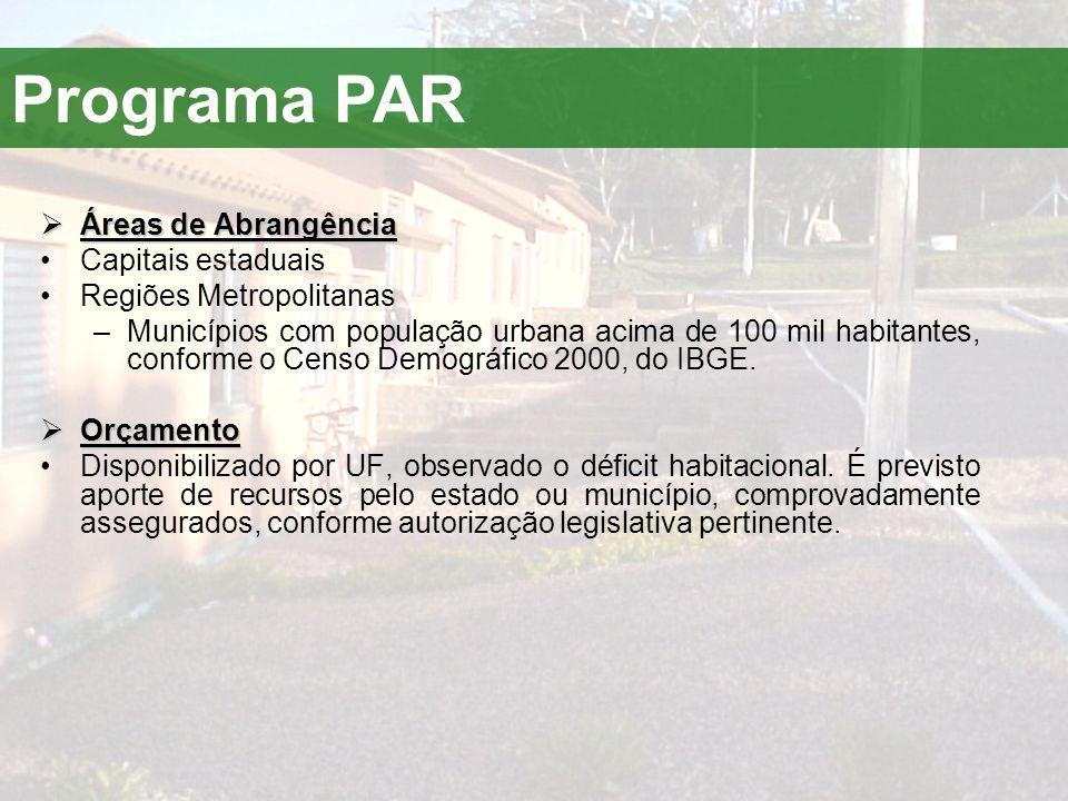 Programa PAR Áreas de Abrangência Capitais estaduais