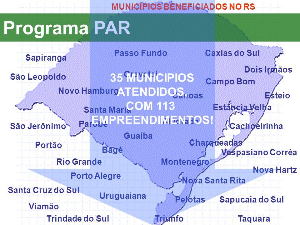 Programa PAR 35 MUNICIPIOS ATENDIDOS, COM 113 EMPREENDIMENTOS!