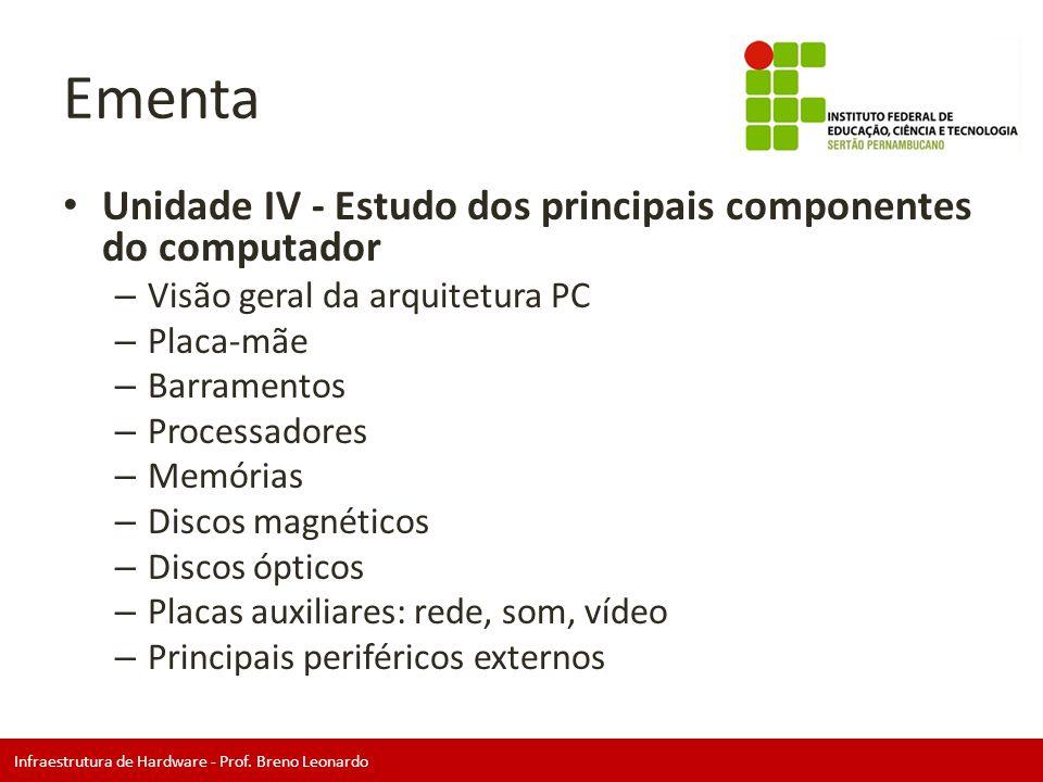 Ementa Unidade IV - Estudo dos principais componentes do computador